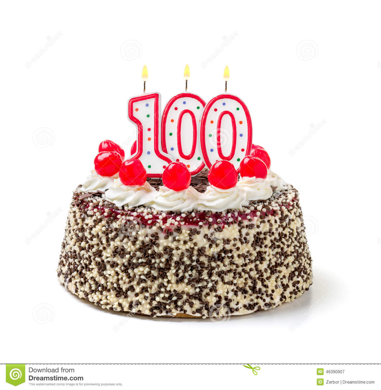 Birthday Cake With Candle Number 100 Stock Photo
