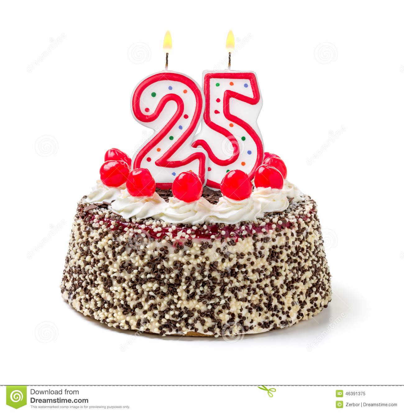Birthday Cake Candle Images Free Download : Birthday Cake With Candle Number 25 Stock Photo - Image ...