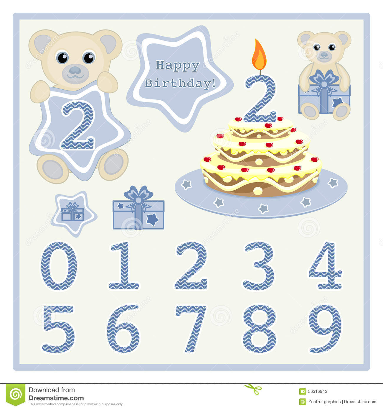 Birthday Cake And Candle Vector Cute Baby Boy Bears Illustration