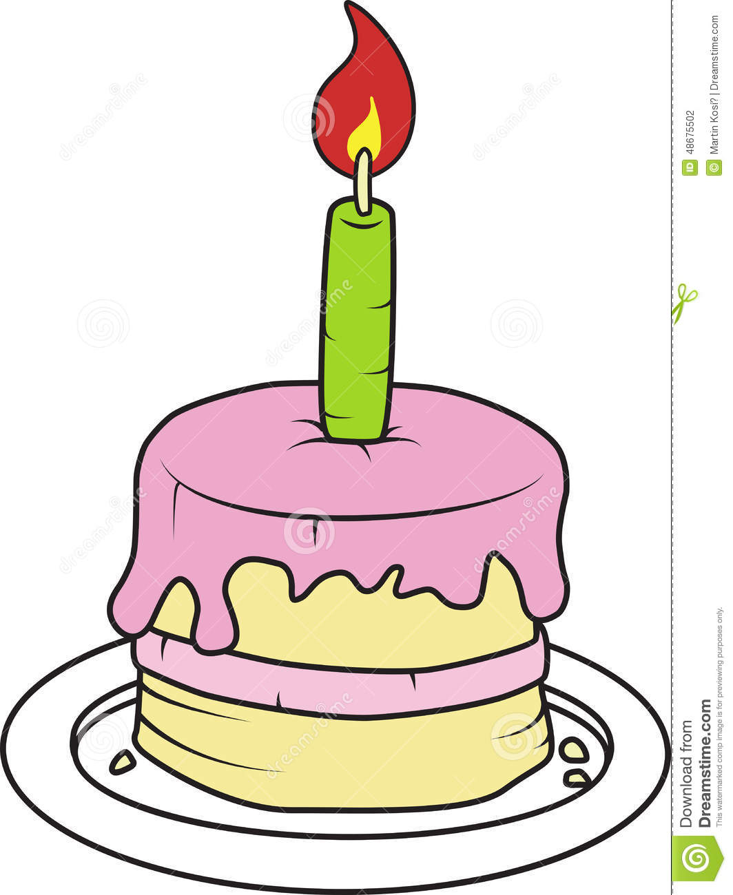 Birthday Cake With Candle Vector Illustration Stock Vector