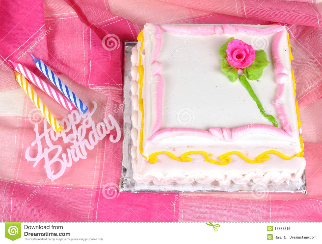 Birthday Cake And Candles Colorful With On Pink Background Royalty Free Stock