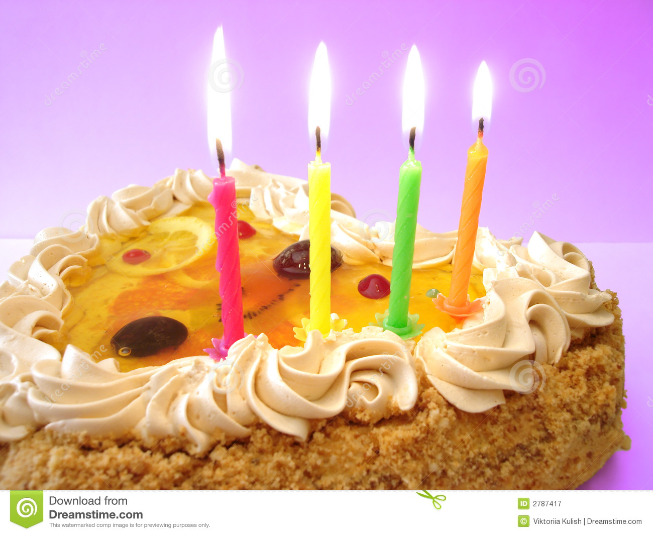Birthday Cake And Candles Royalty Free Stock Photography ...