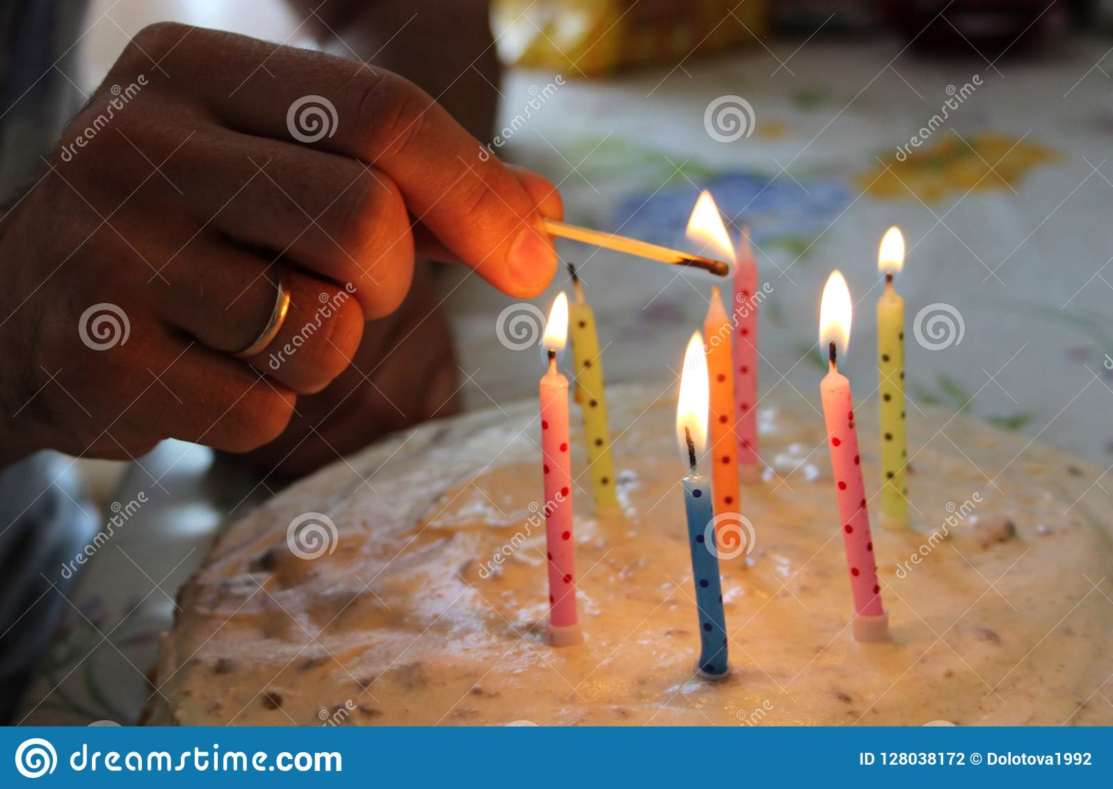 Big Birthday Cake With Burning Candles