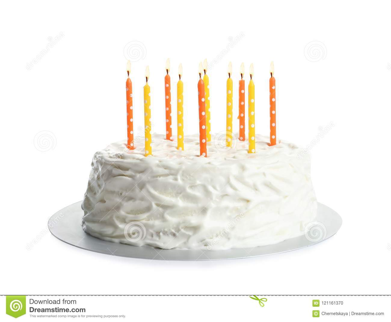 Fantastic Birthday Cake With Candles Stock Photo Image Of Birthday 121161370 Funny Birthday Cards Online Aeocydamsfinfo