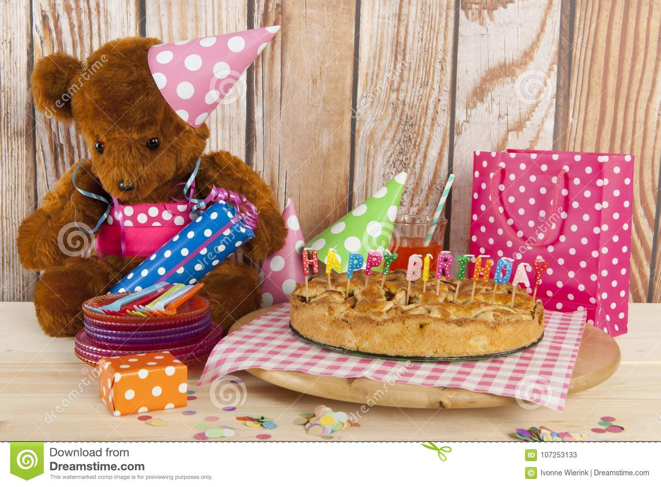 Birthday Cake With Candles For Child Party Stock Image Image Of