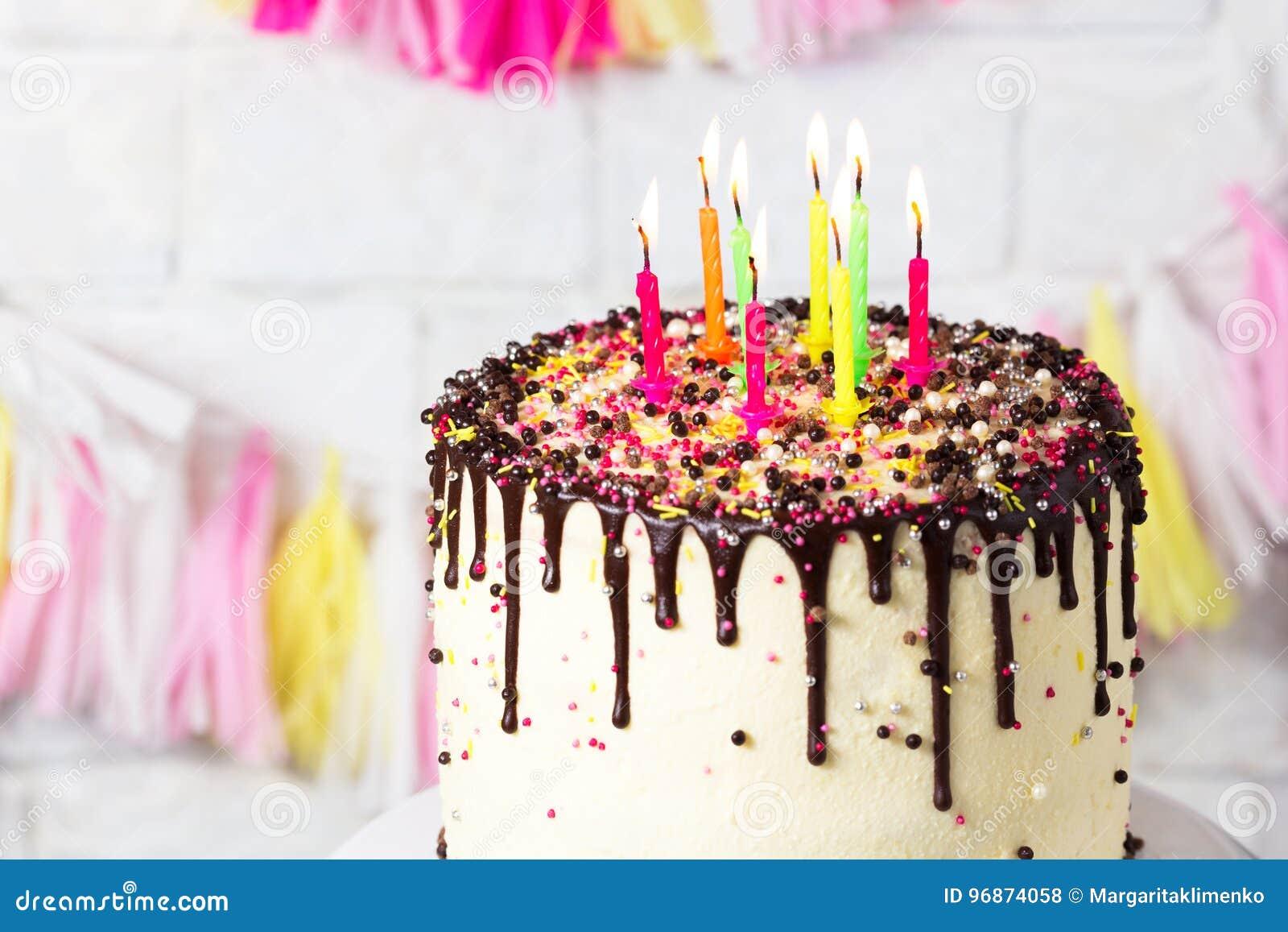 Birthday Cake With Candles Stock Photography Cartoondealer Com