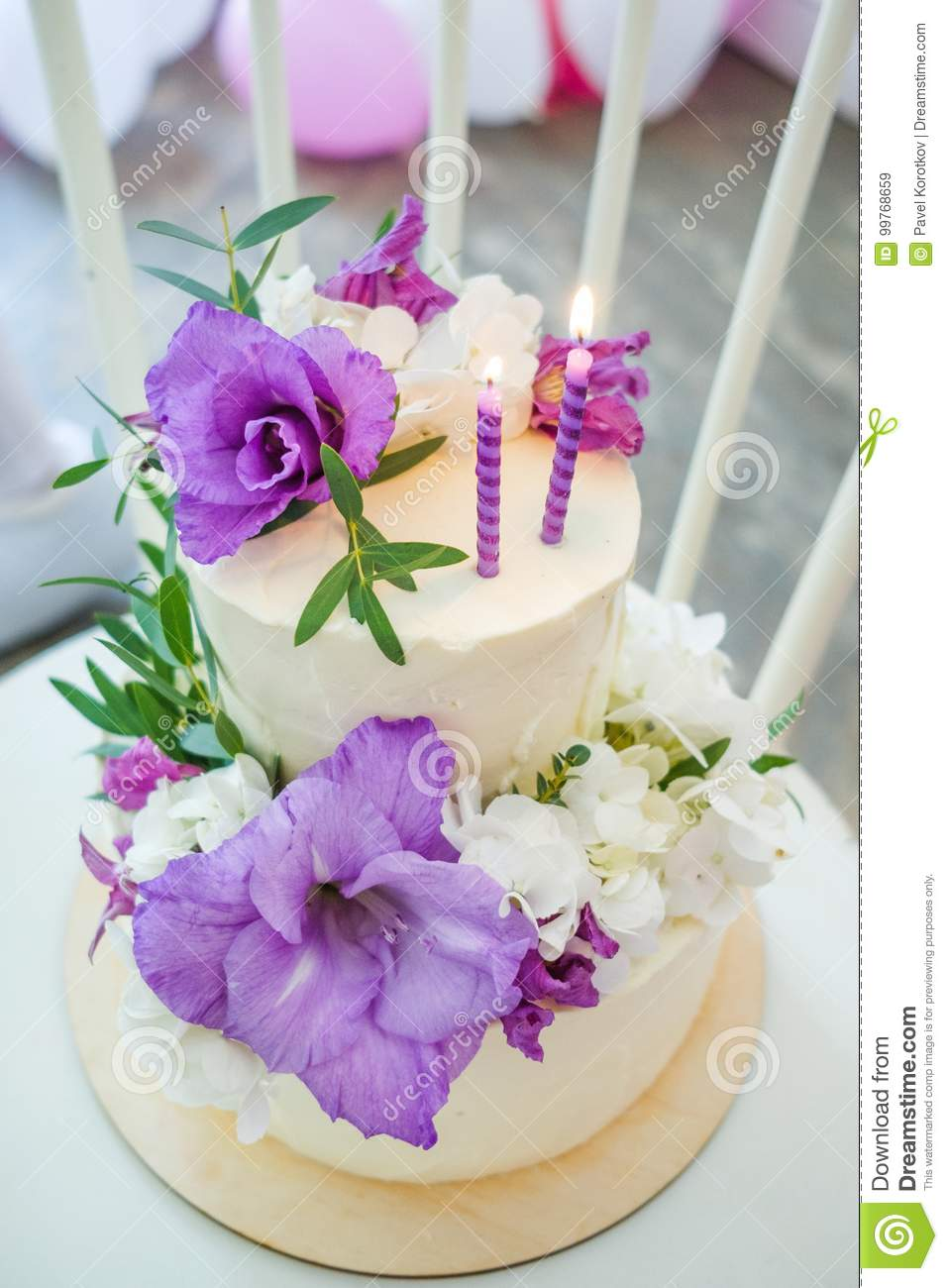 Birthday Cake With Candles Decorated Purple And White Flowers