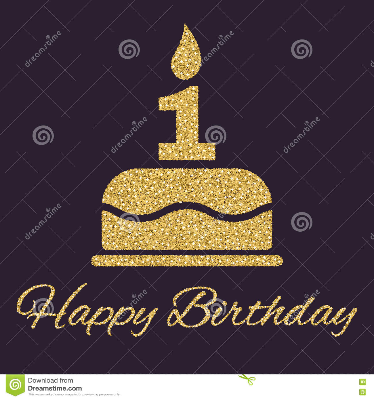 The Birthday Cake With Candles In Form Of Number 1 Symbol Gold Sparkles And Glitter Vector Illustration