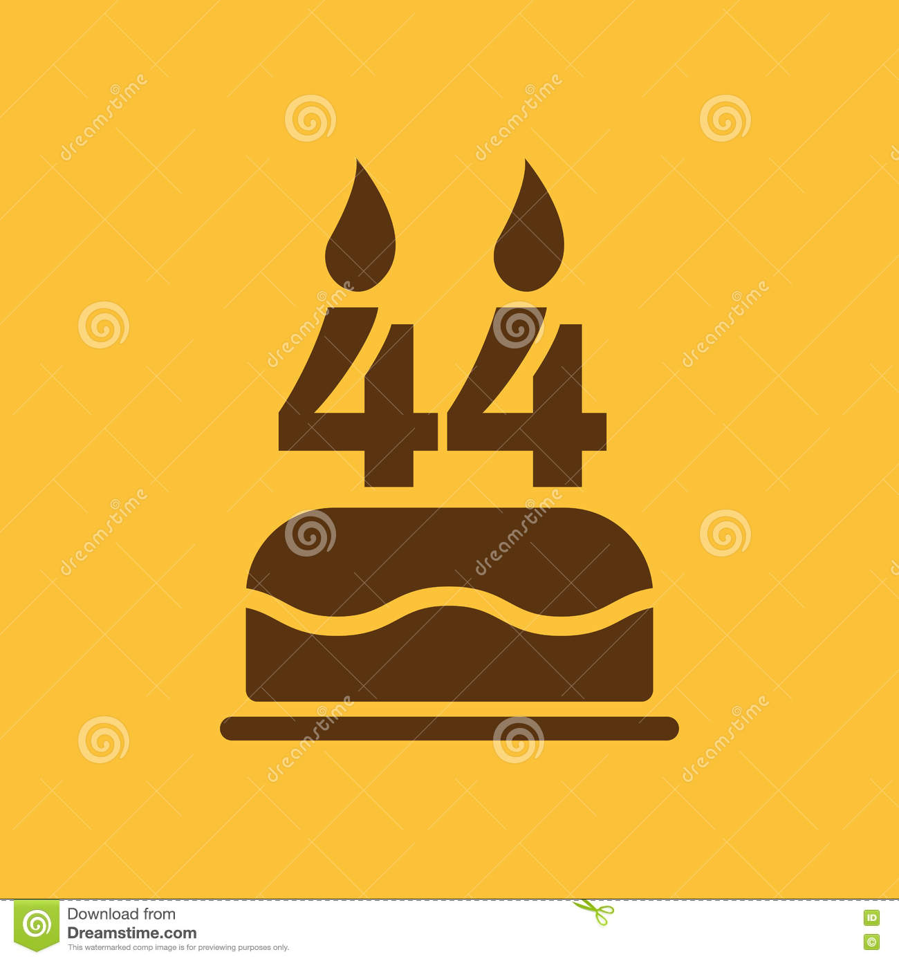 The birthday cake with candles in the form of number 44 icon. Birthday  symbol.