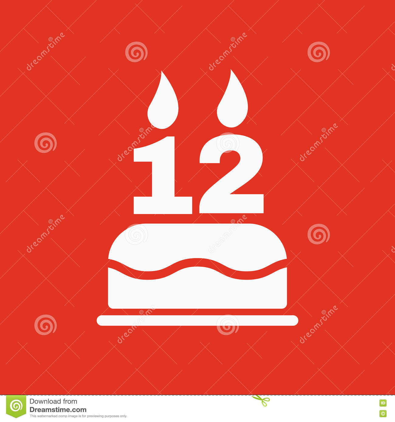 The Birthday Cake With Candles In Form Of Number 12 Icon Symbol