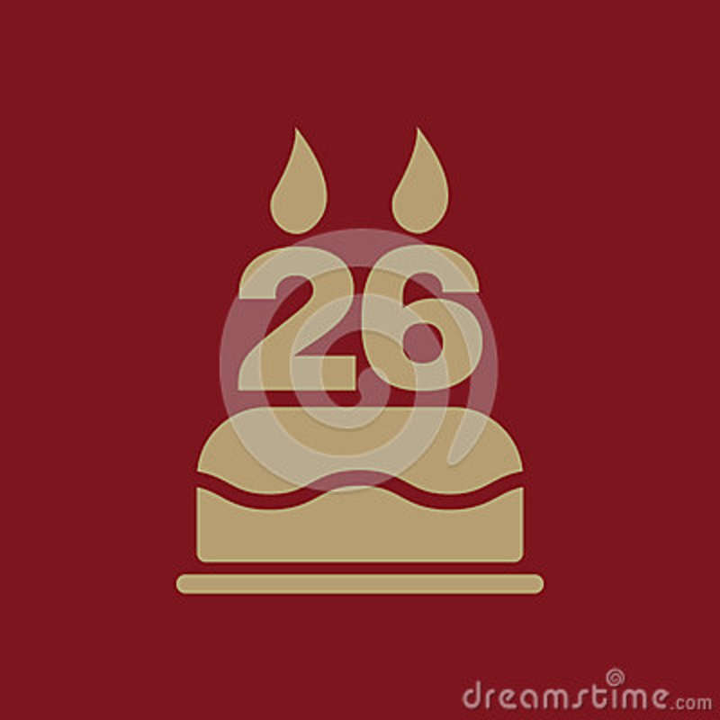 The Birthday Cake With Candles In The Form Of Number 26 Icon