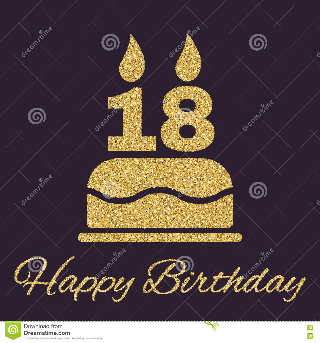 The Birthday Cake With Candles In Form Of Number 18 Icon Symbol Gold Sparkles And Glitter Vector Illustration