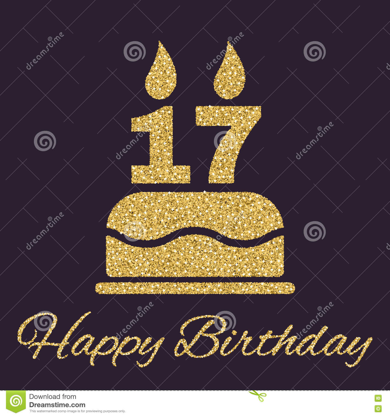 The Birthday Cake With Candles In Form Of Number 17 Icon Symbol Gold Sparkles And Glitter Vector Illustration