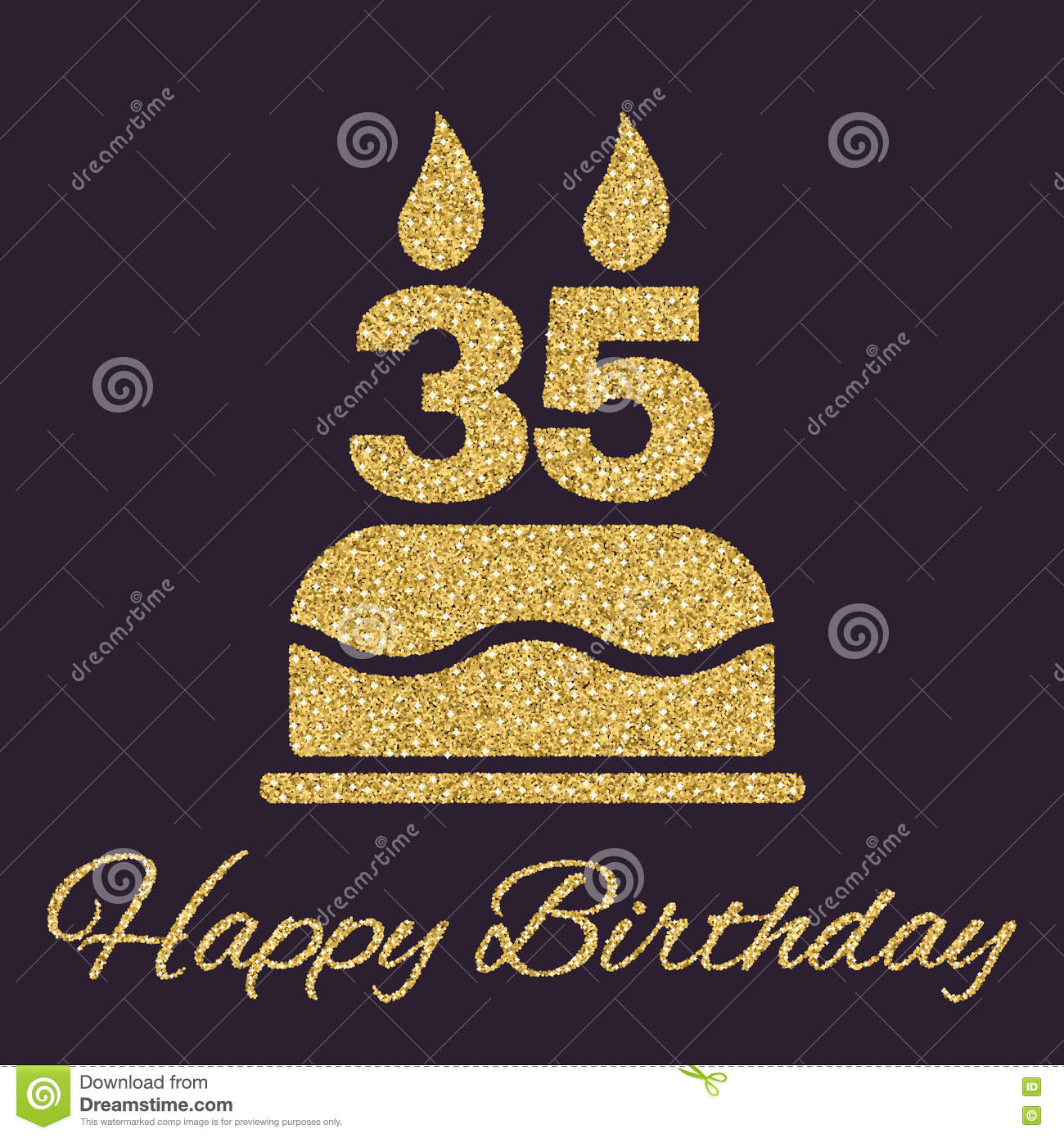 The Birthday Cake With Candles In Form Of Number 35 Icon Symbol Gold Sparkles And Glitter Vector Illustration