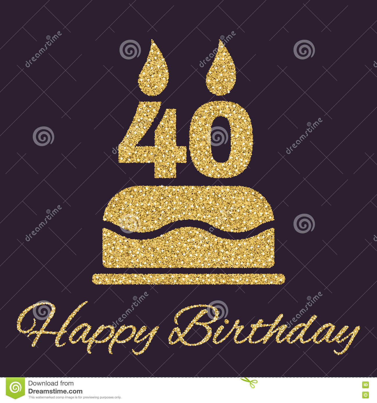 The Birthday Cake With Candles In Form Of Number 40 Icon Symbol Gold Sparkles And Glitter Vector Illustration