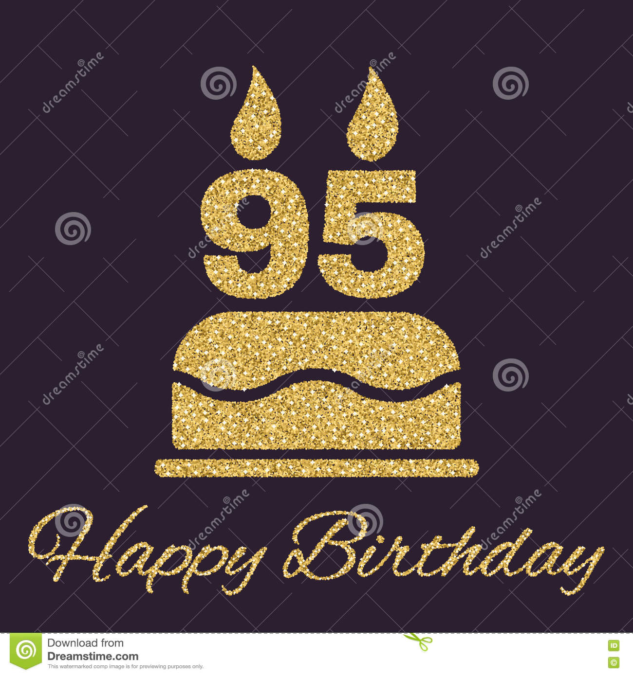 The Birthday Cake With Candles In The Form Of Number 95 Icon