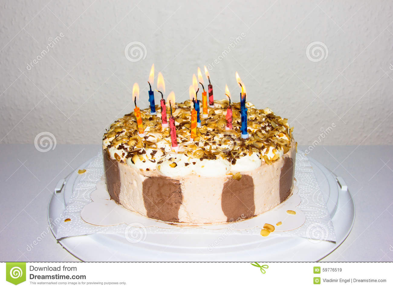 Birthday Cake Candles Fire Food Congratulation
