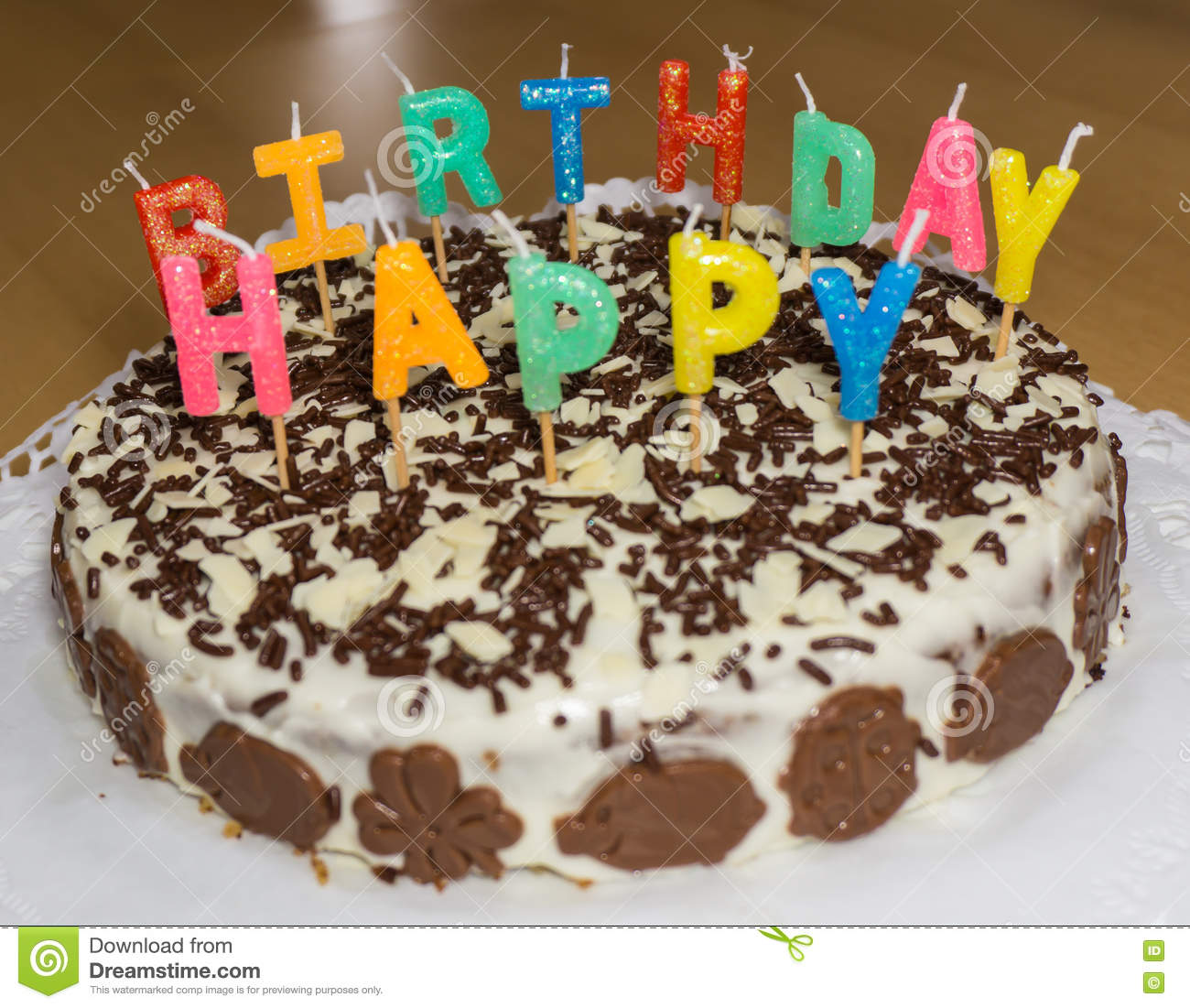 Birthday Cake With Candles Happy Birthday Food Object Stock Photo