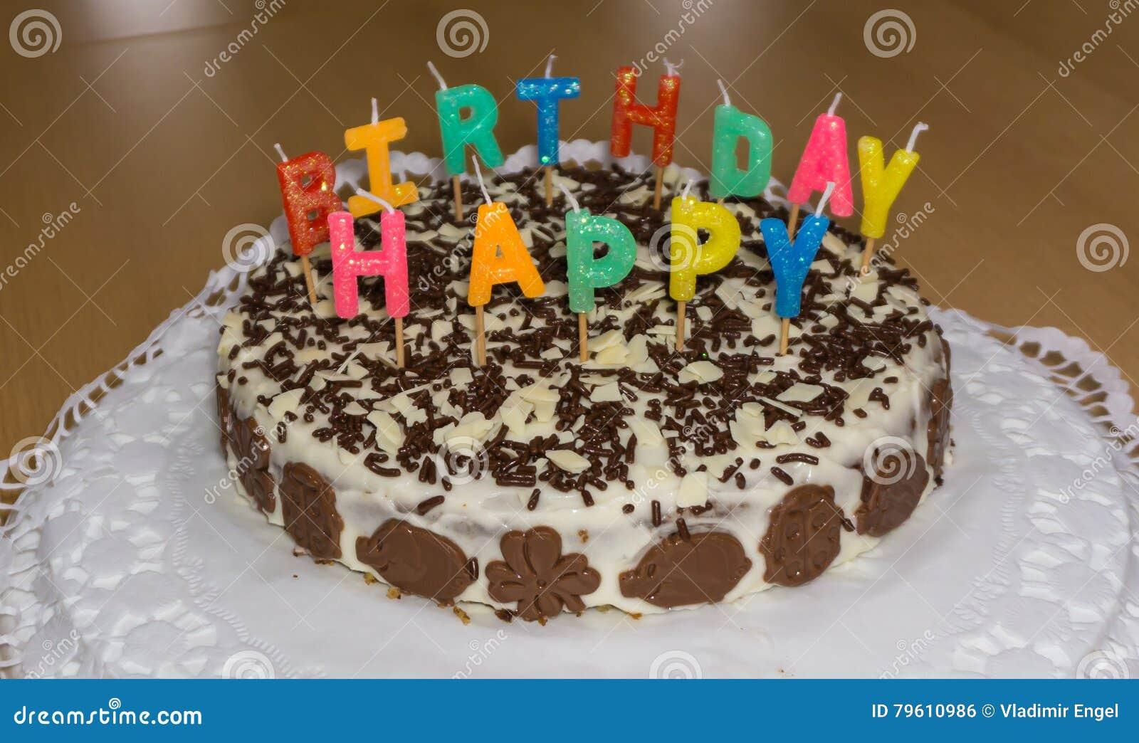 Birthday Cake With Candles Happy Birthday Stock Photo Image Of