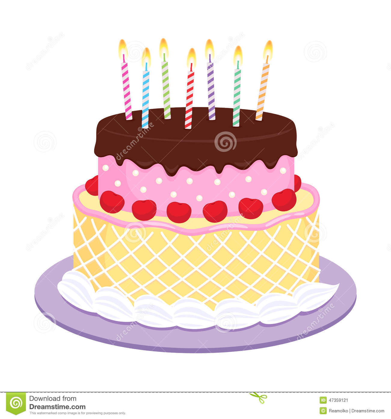 Birthday Cake With Candles Illustration. Stock Vector