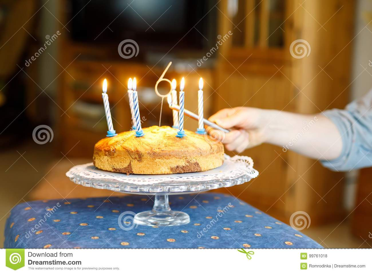 Birthday Cake With 6 Candles For Kid Child Celebrates Six Years