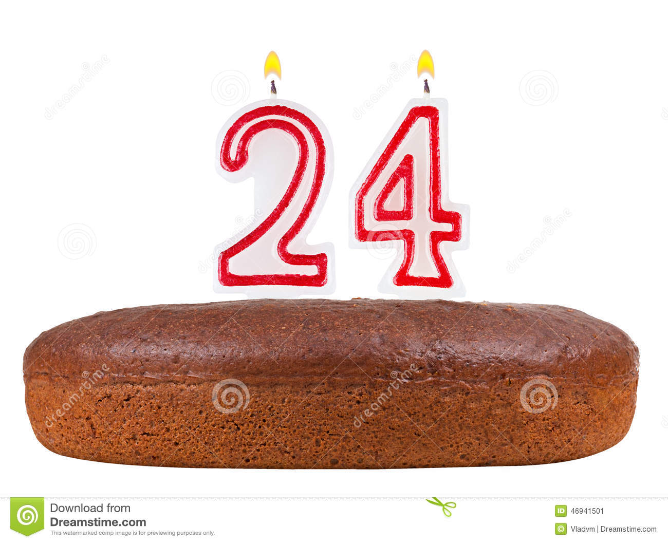 Birthday Cake With Candles Number 24 Isolated Stock Illustration