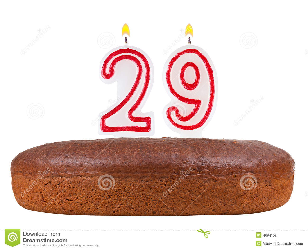 Birthday Cake With Candles Number 29 Isolated Stock Illustration