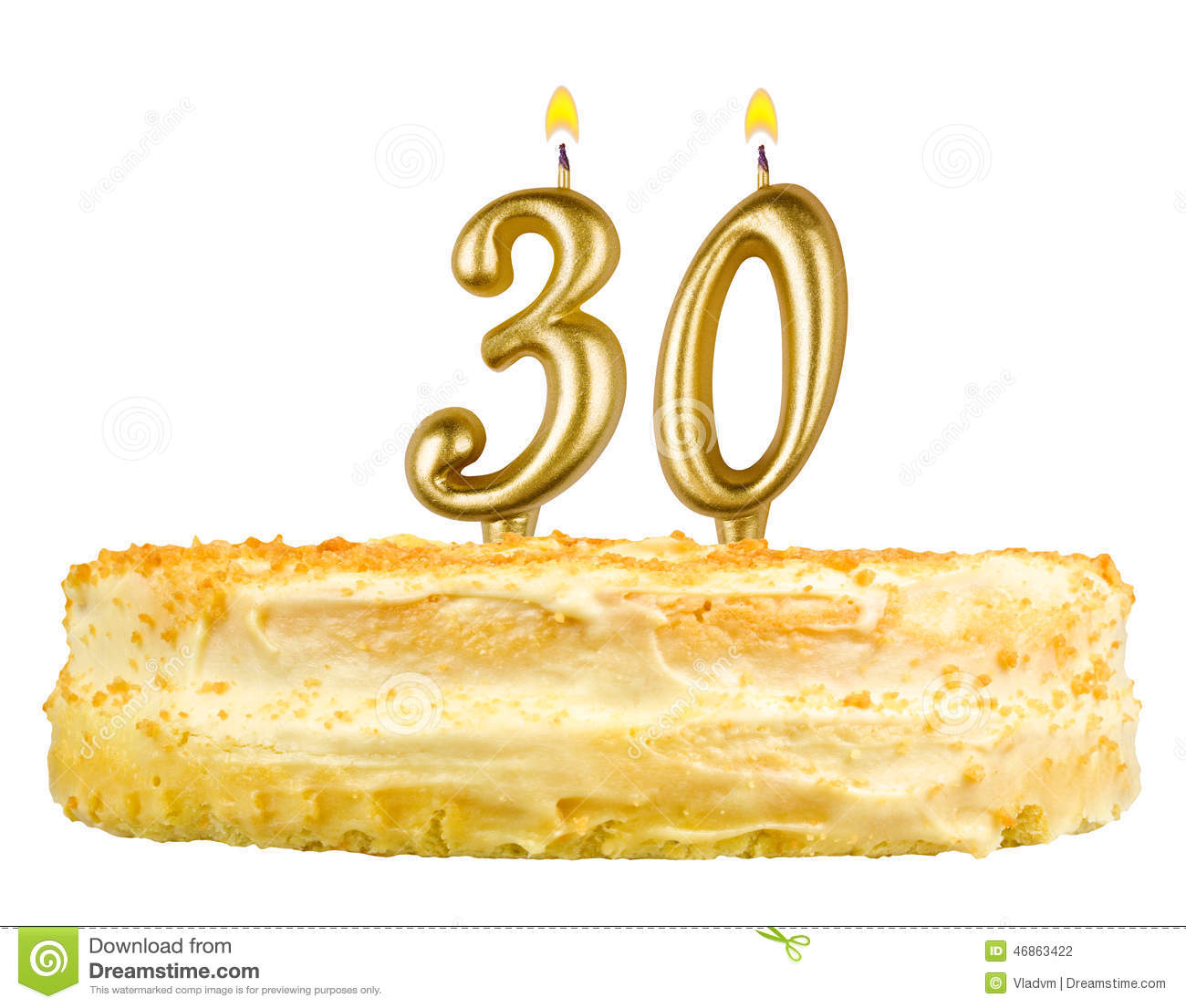 Birthday Cake With Candles Number Thirty Stock Photo