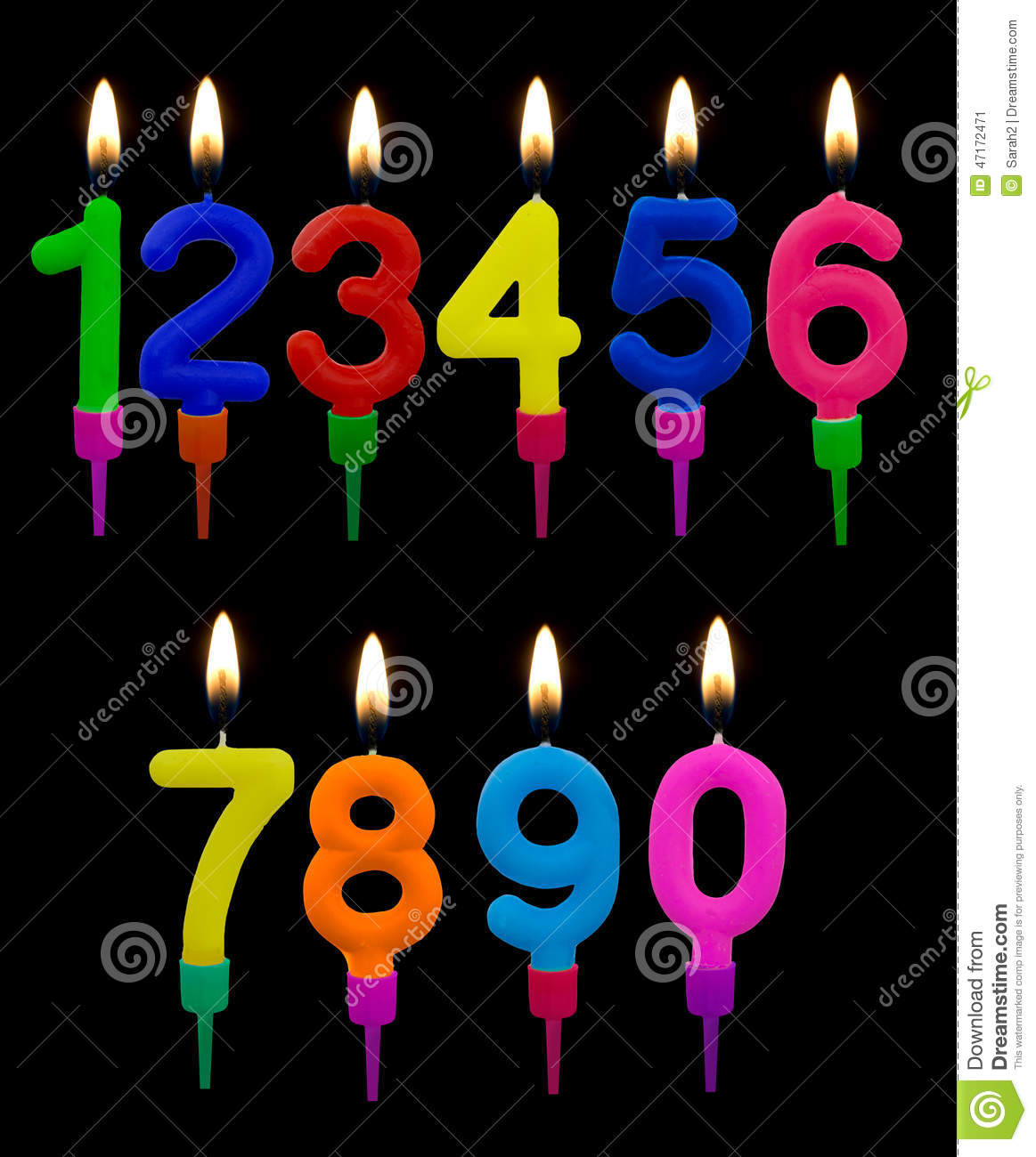 Birthday Cake Candles, Numbers, With Flames Over Black