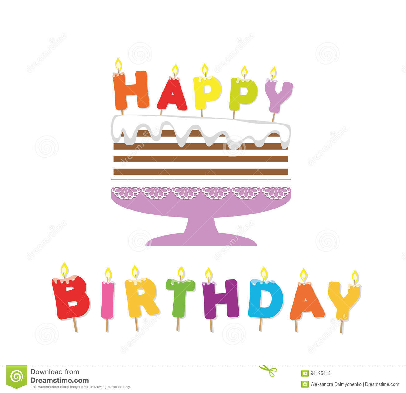 Birthday Cake With Candles Paper Cutout Sticker Stock Vector