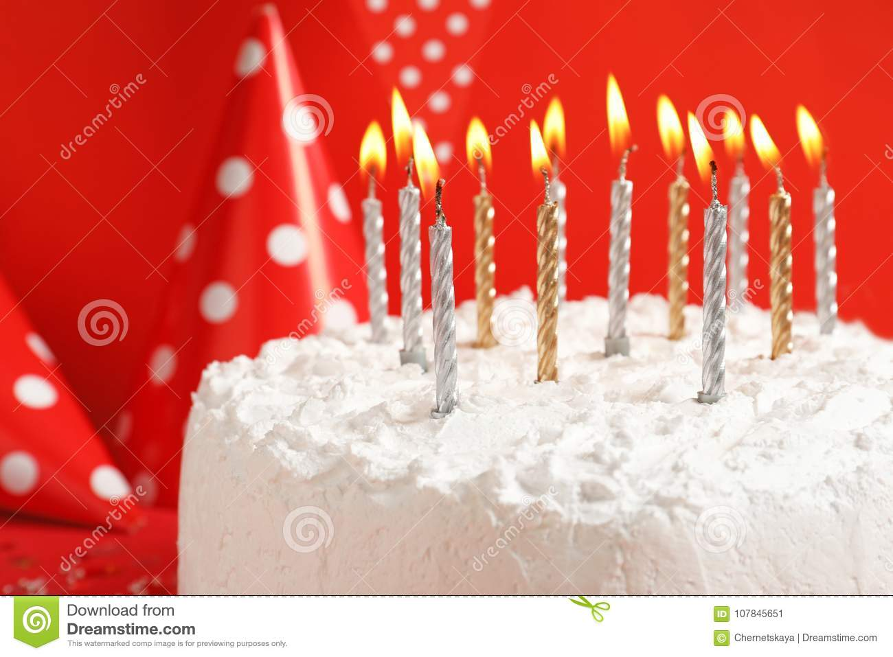 Birthday Cake With Candles On Red Background