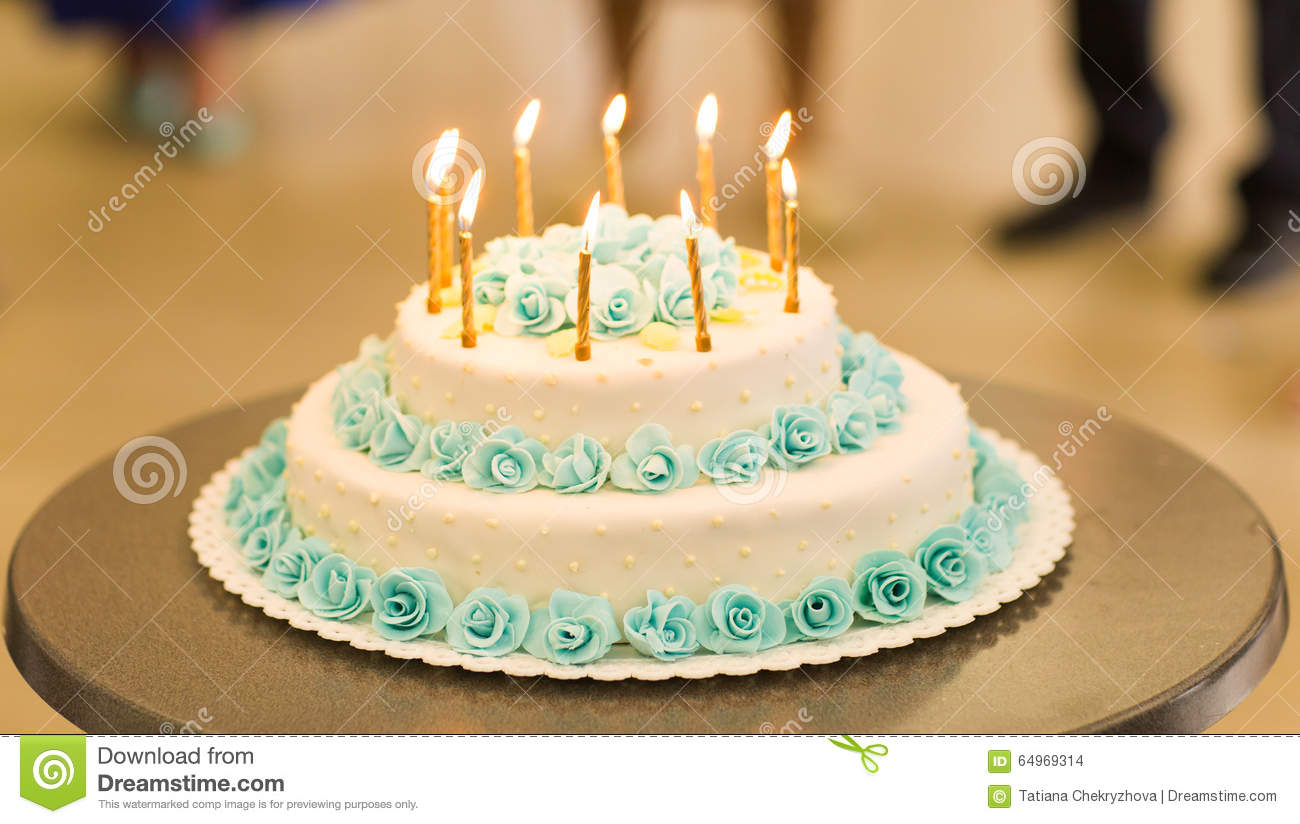 Fine Birthday Cake With Candles Stock Photo Image Of Frosting 64969314 Funny Birthday Cards Online Overcheapnameinfo