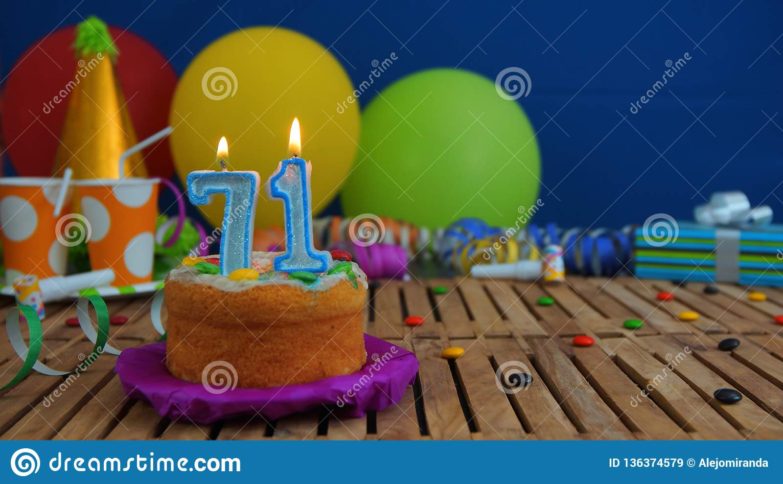 Birthday 71 Cake With Candles On Rustic Wooden Table With ...