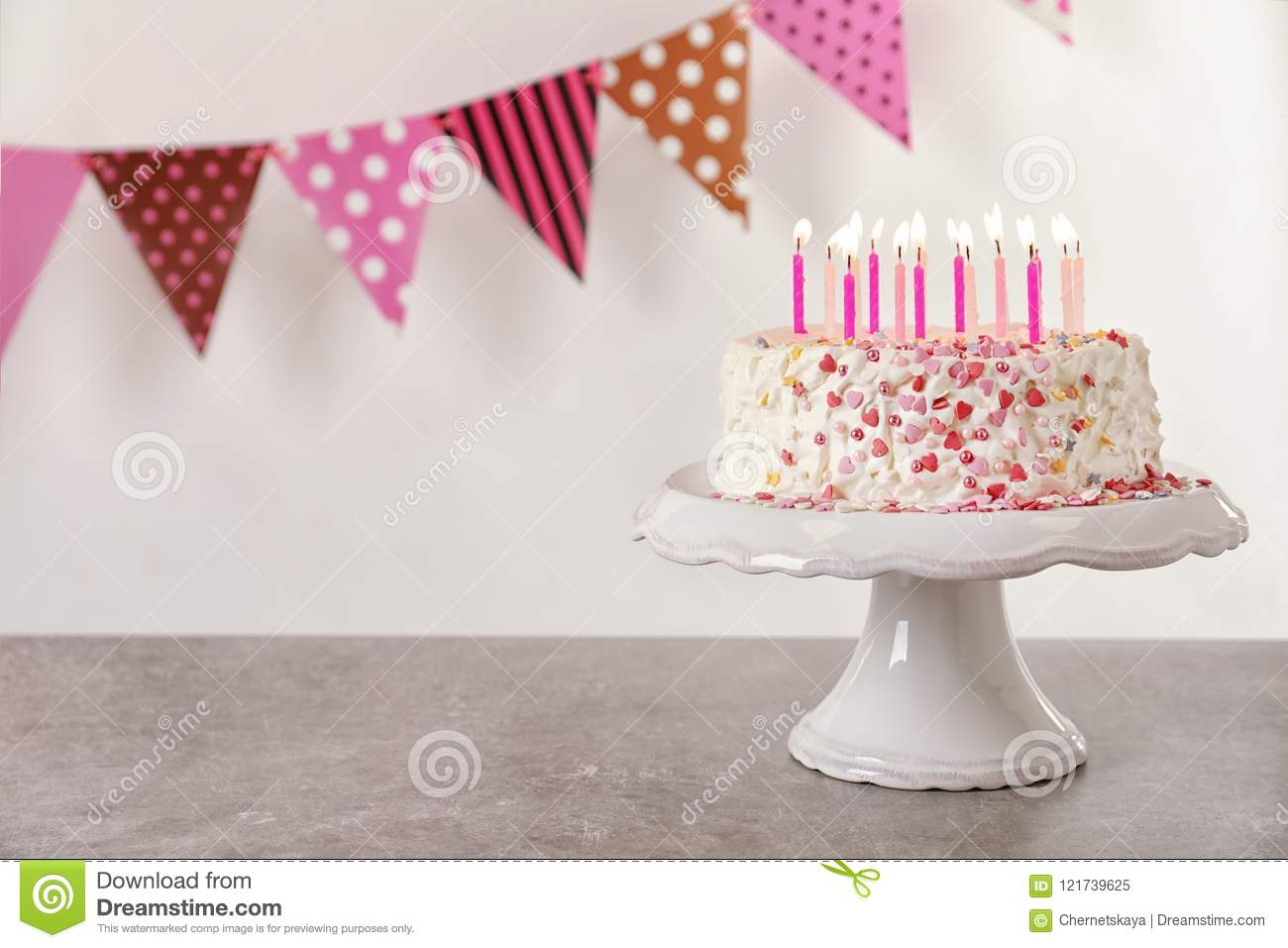 Birthday Cake With Candles On Table Against Stock Image Image Of
