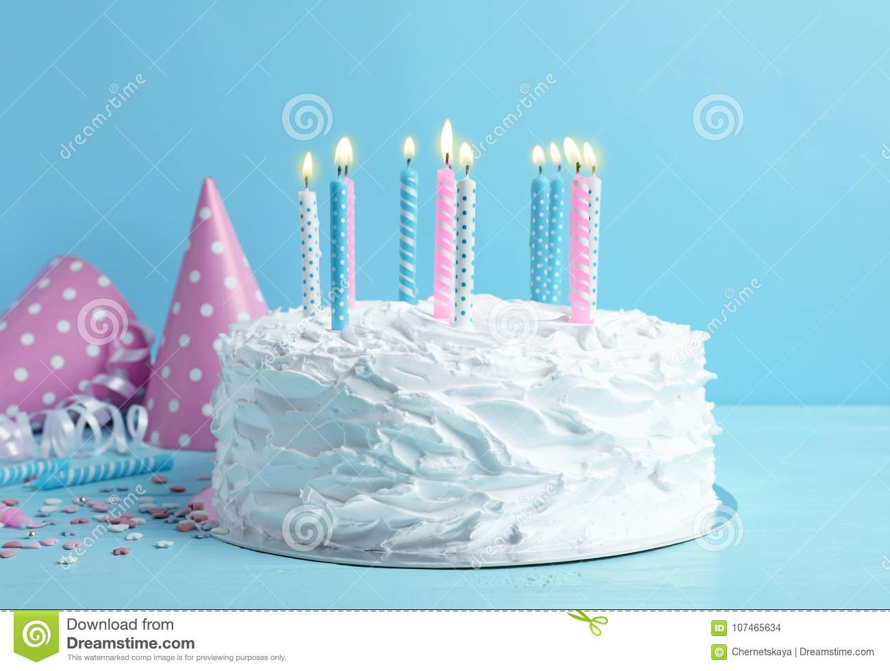 Birthday Cake With Candles On Table Stock Photo Image Of