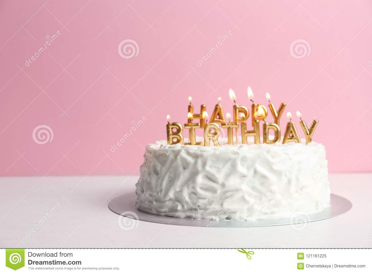 Birthday Cake With Candles On Table Stock Image Image Of Event