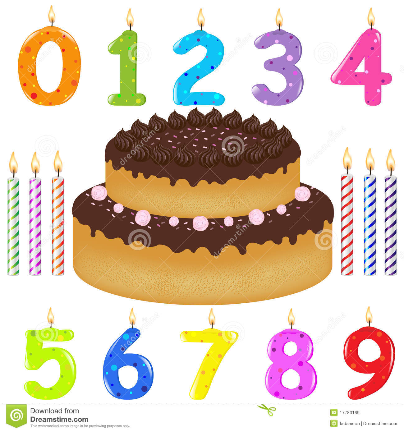 Birthday Cake With Candles Vector Stock Vector