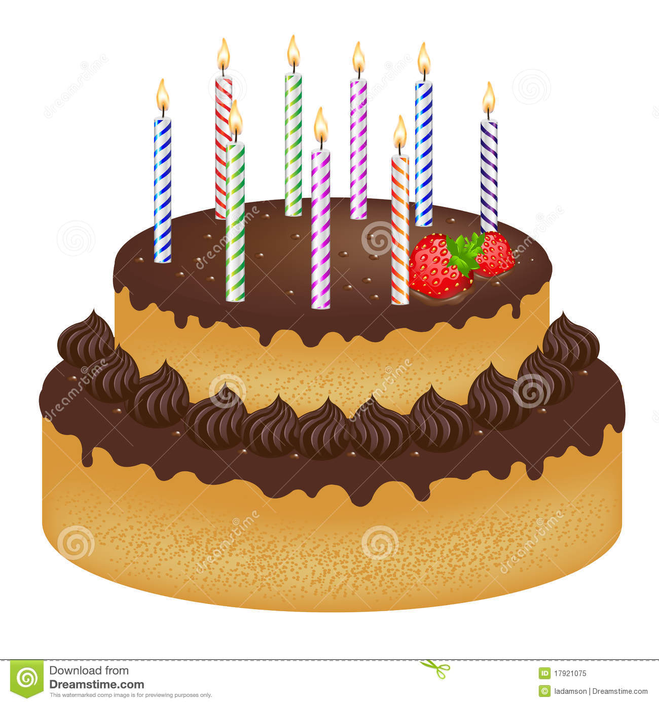 Birthday Cake With Candles Vector Royalty Free Stock