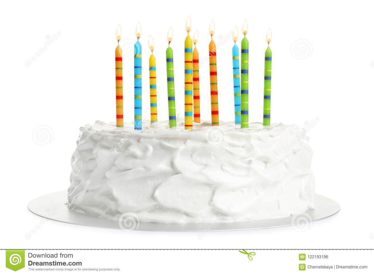 Miraculous Birthday Cake With Candles Stock Photo Image Of Icing 122193196 Personalised Birthday Cards Beptaeletsinfo