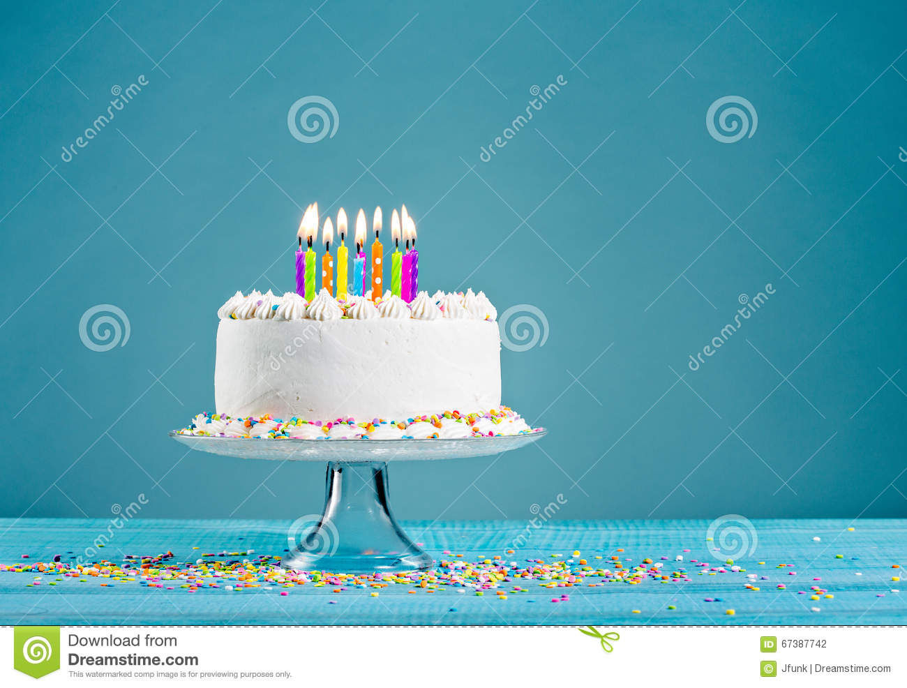 Download Birthday Cake with Candles stock photo. Image of happy - 67387742