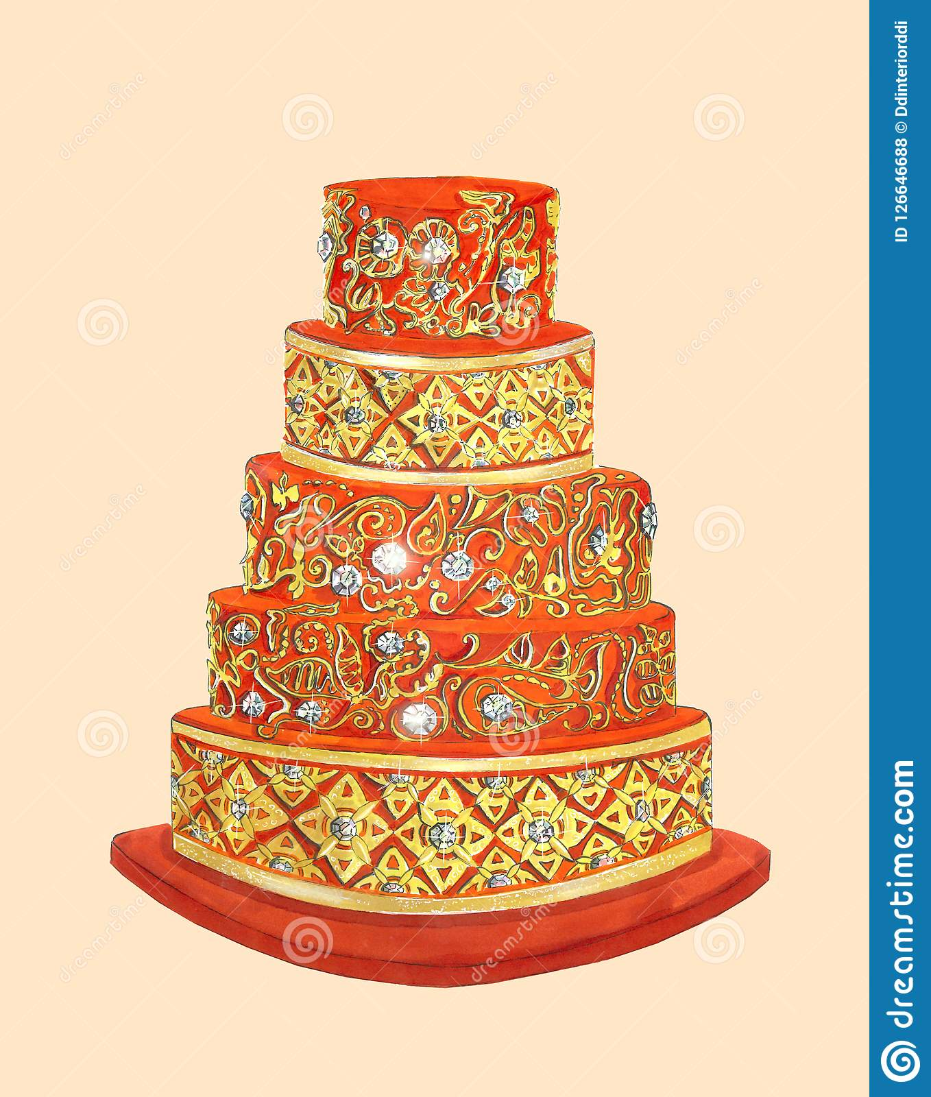 Incredible The Red Cake With Gold Details And Gems Stock Illustration Funny Birthday Cards Online Alyptdamsfinfo