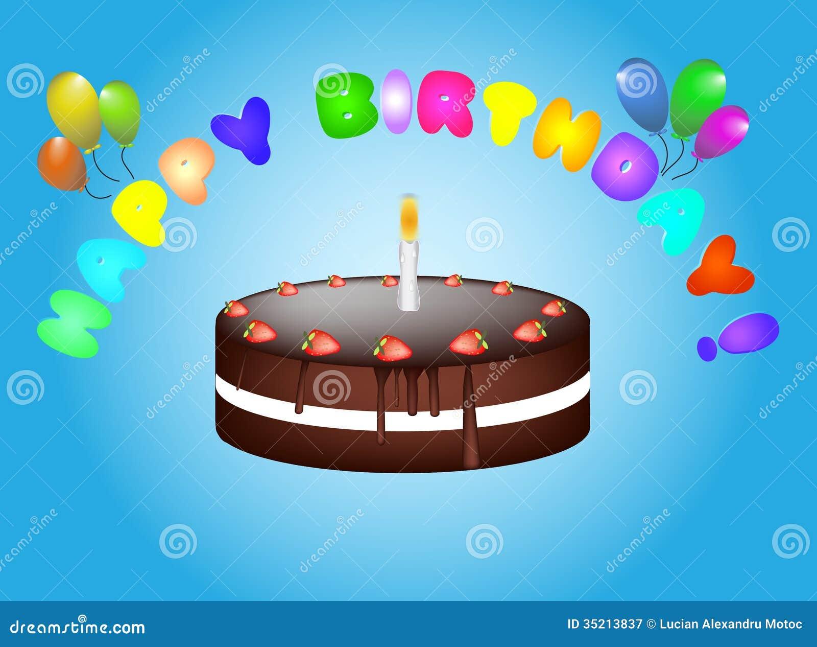 Birthday Cake Card Stock Illustration Illustration Of Balloons