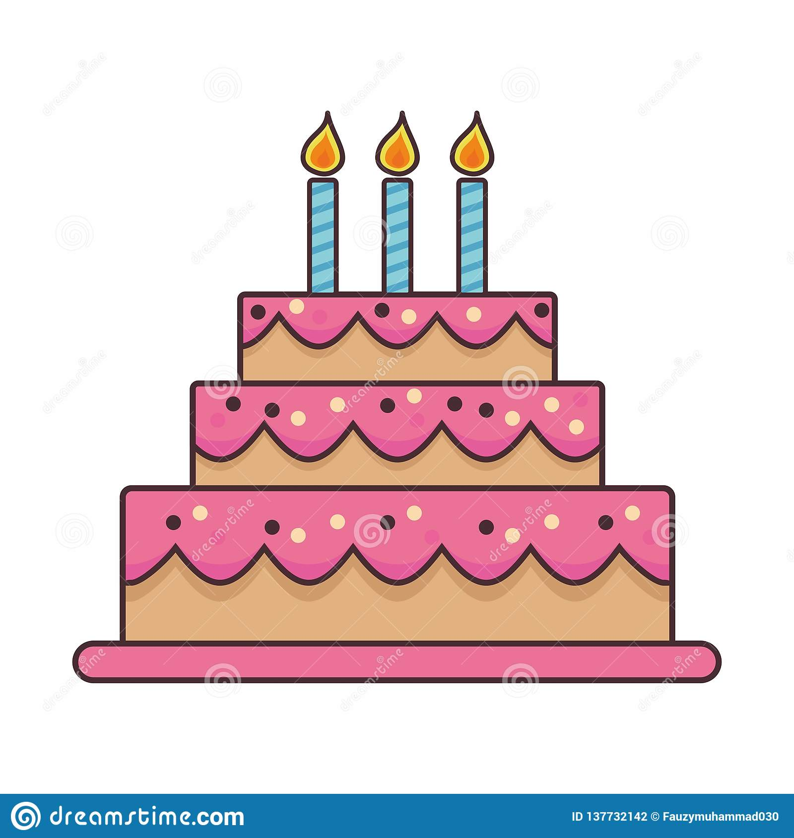 Marvelous Birthday Cake Cartoon Illustration On Isolated Background Stock Funny Birthday Cards Online Alyptdamsfinfo