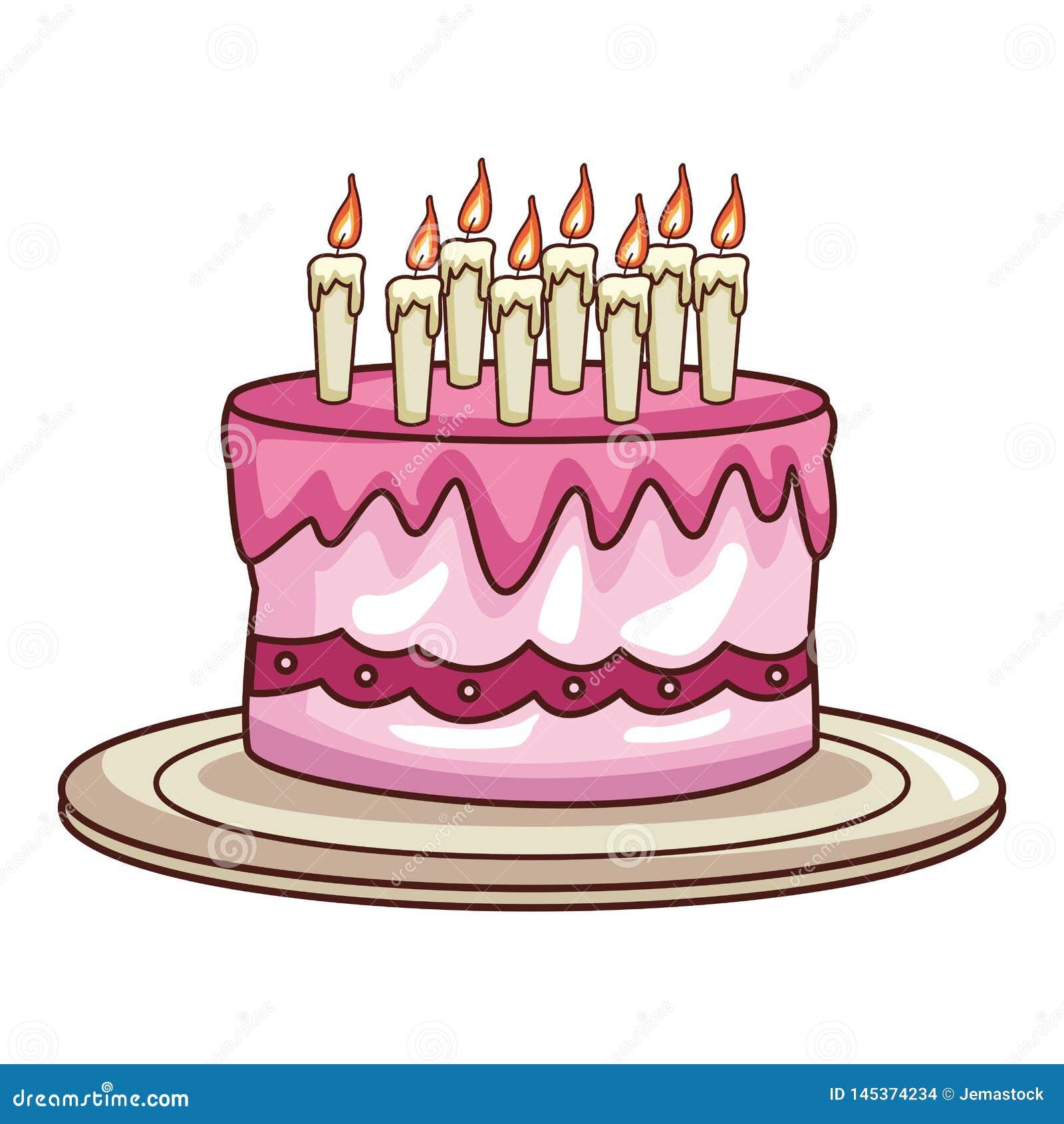 Birthday Cake Cartoon Stock Vector Illustration Of Drawing 145374234