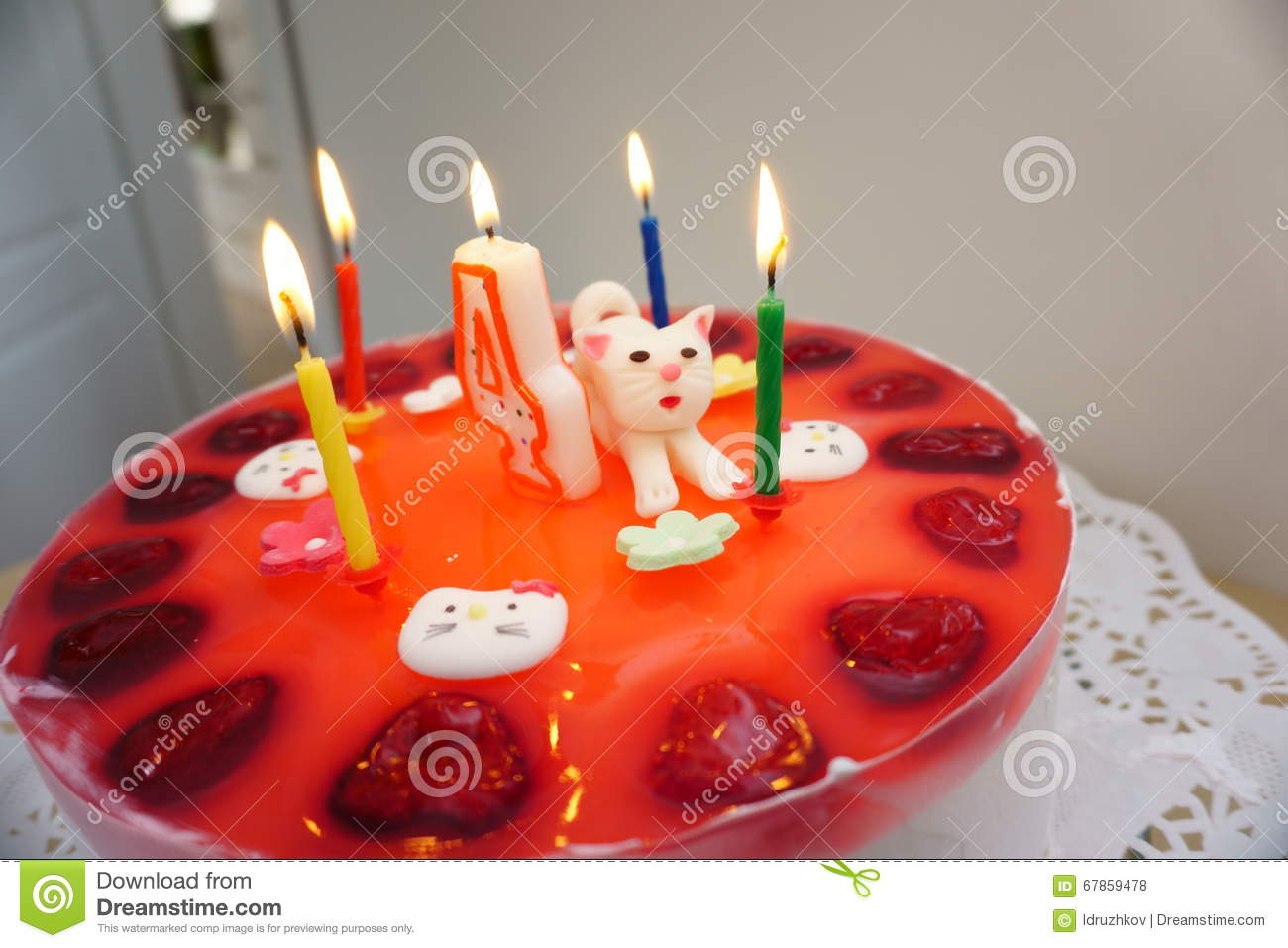 Birthday Cake With Cat On The Table Stock Photo Image 67859478