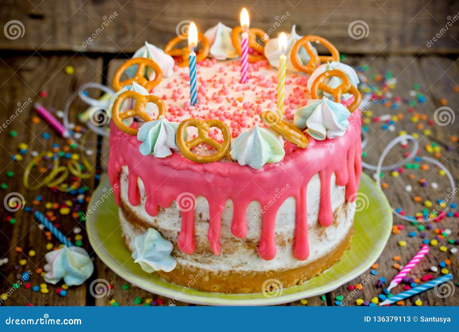 Swell Birthday Cake Celebration Naked Cake With Candles Stock Image Funny Birthday Cards Online Elaedamsfinfo