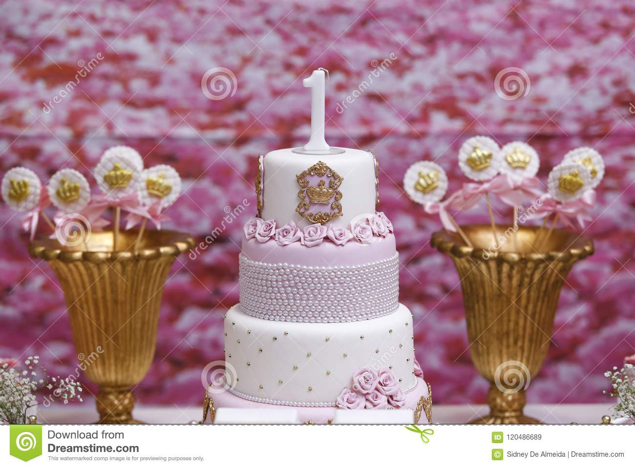 Birthday Cake For A One Year Celebration Stock Image Image Of