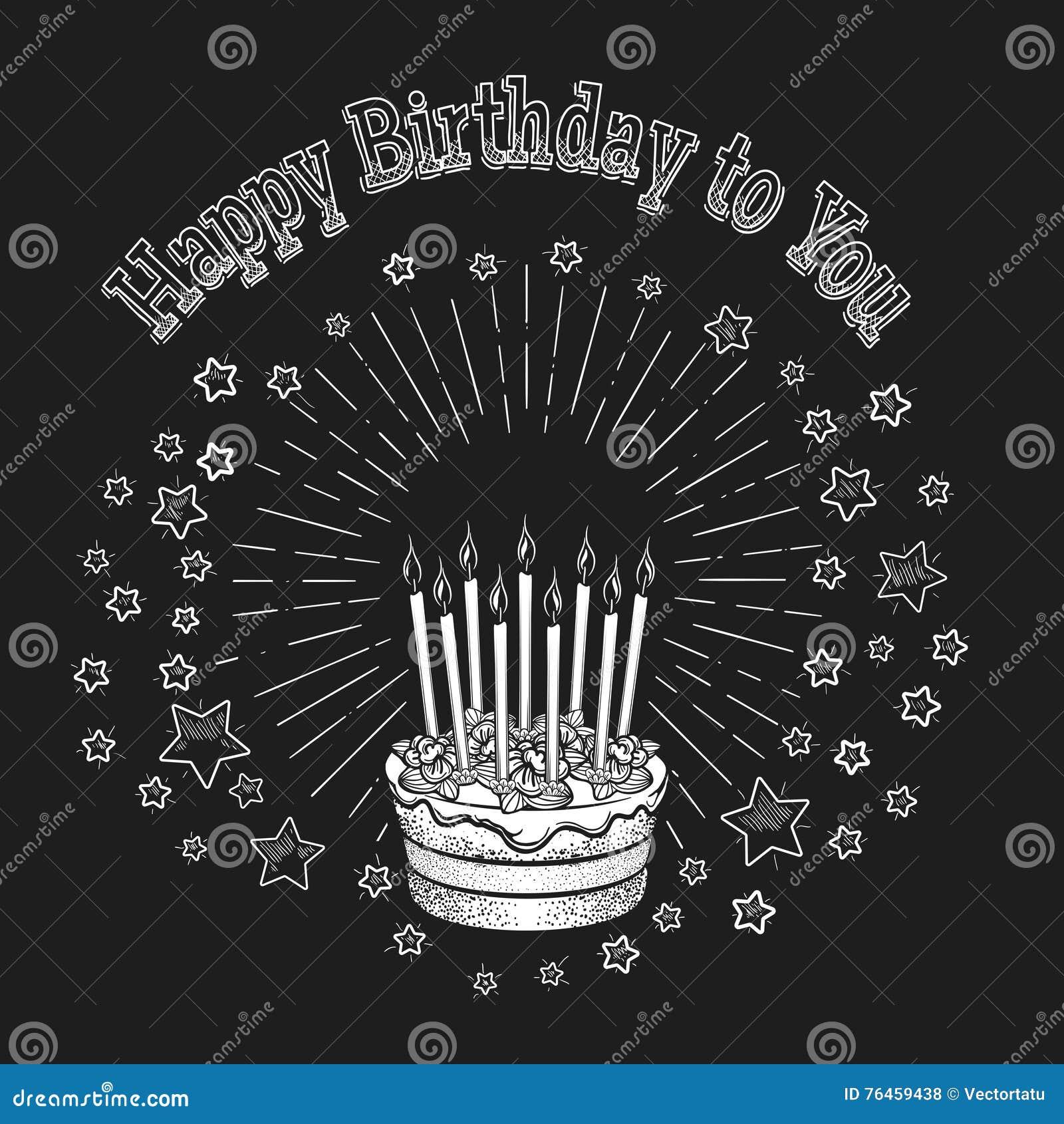Birthday Cake Chalkboard Greeting Card Stock Vector Illustration