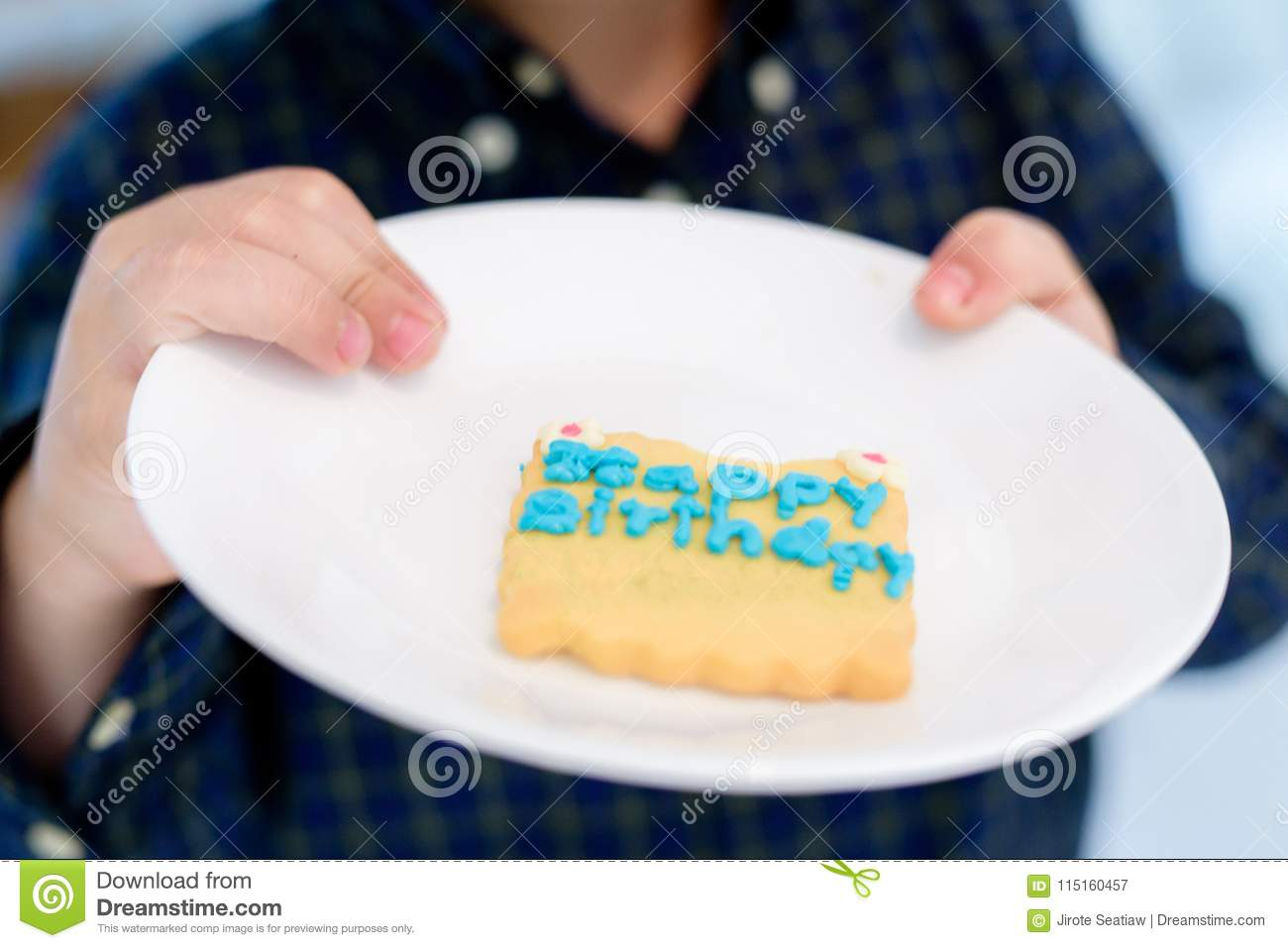 The Birthday Cake Child Hold Recipe On A Flat Plate For Kids Of All Ages Selective Focus