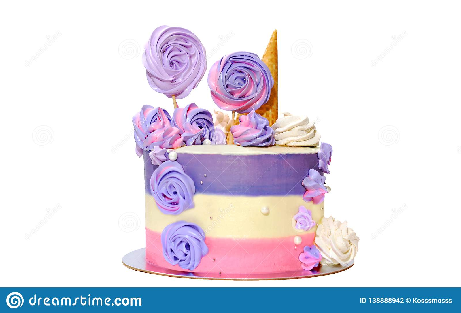Strange Birthday Cake With Colored Stripes Of Pink And Purple Decorated Personalised Birthday Cards Rectzonderlifede